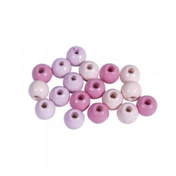 Dřevěné korálky, pr.6mm, 116ks - růžové