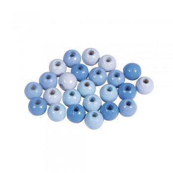 Dřevěné korálky, pr.6mm, 116ks - světle modré