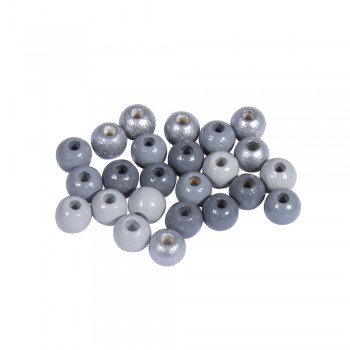 Dřevěné korálky, pr.6mm, 116ks - mix stříbrno-šedý