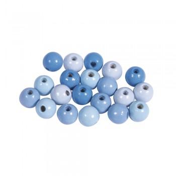 Dřevěné korálky, 8mm, mix pastelově modrý, 84ks