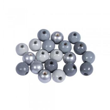 Dřevěné korálky, 8mm, mix šedo-stříbrný, 82ks