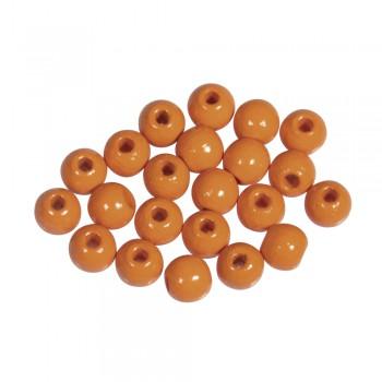 dřevěné korálky lakované, pr.6mm, 115ks - oranžové