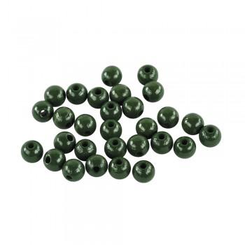 dřevěné korálky lakované, pr.6mm, 115ks - tm.zelené