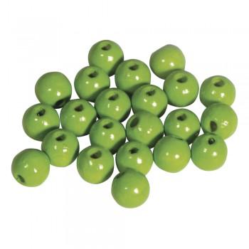 dřevěné korálky lakované, pr.6mm, 115ks - zelené jablko