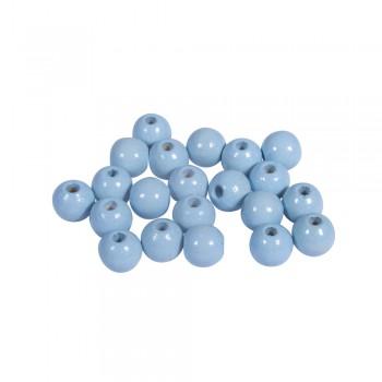 dřevěné korálky lakované, pr.6mm, 115ks - světlounce modré