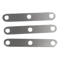 Kovová vložka, 3 díry, 2cm, 10ks - stříbrná