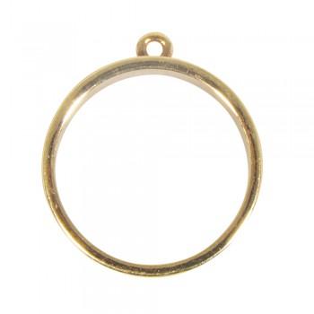 Kovový rám na přívěsek, kulatý, 30mm - zlatý