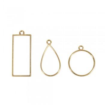 Kovový rámeček na šperky - obdélník, kolečko, slza - zlatá
