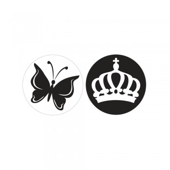 Odlévací šablonka - Motýl+korunka, pr.30mm, 2ks