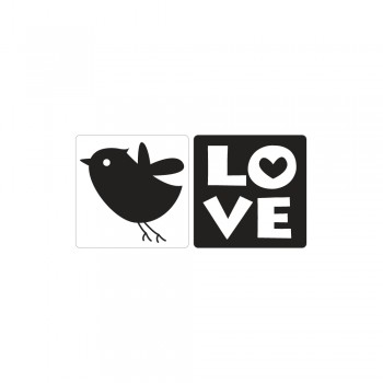 Odlévací šablonka - LOVE+ptáček, 25x30mm, 2ks