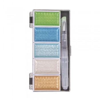Akvarelové metalické barvy s H2O štětcem, 5 odstínů - modro-zelené odstíny