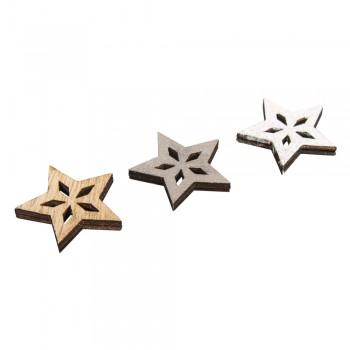 Přízdoba dřevěná - hvězdy, 3,5cm, 12ks