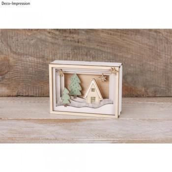 3D - dřevěný obrázek - minikrajinka, 11,5x8,5x3,2cm