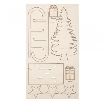 Dřevěná stavebnice - sáňky, 11x5x16,5cm, 9-ti dílná