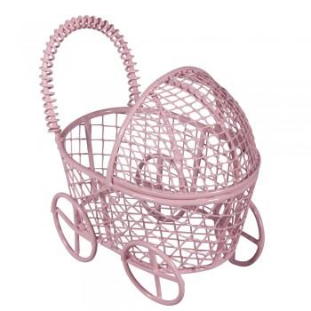 Kočárek drátěný, 8x5x7,5cm - růžový