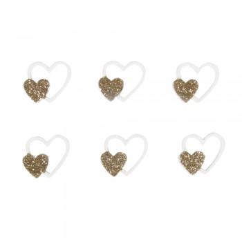 Přízdoba - srdíčka svatební, zlatá, 2,6x2,3cm, 12ks