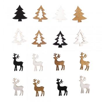 Dřevěná dekorace - jeleni, stromky - 3 barvy, 1,5x2,2cm, 16ks
