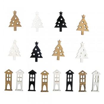 Dřevěná dekorace - Vánoční stromky, domečky - 3 barvy, 1,2-3cm, 16ks