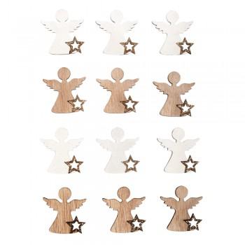 Dřevěná dekorace - Andělíčci s glitrovou hvězdičkou - 3,8x4cm, 10ks