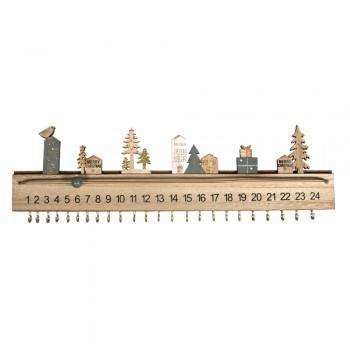 Dřevěný adventní kalendář s posuvnou kuličkou, 40x3,5x12cm