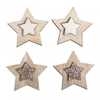 Dřevěná dekorace - hvězdičky s glitrovým středem - 3cm, 10ks