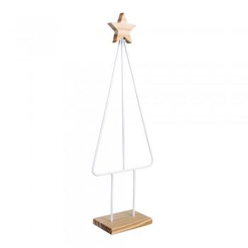 Kovový polotovar pro macrame - stromeček s dřevěnou podložkou, 38x15cm