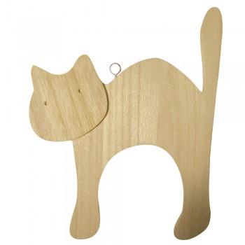 Dřevěný polotovar - kočička se závěsným očkem, 15x20x1cm
