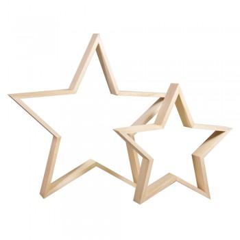 Dřevěné rámečky - hvězdy, 35 + 24,5cm ø, výška 4cm, 2ks