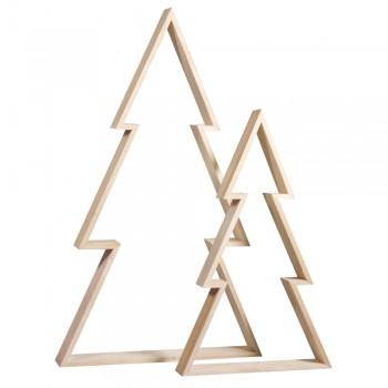 Dřevěné rámečky - vánoční stromky, 22x36 + 30x49,5cm, hloubka 4cm, 2ks