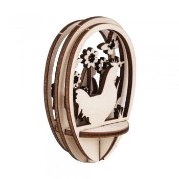 Dřevěná sestava - Velikonoční vajíčko 8cm - slepička