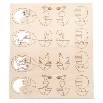 Dřevěná sestava - Velikonoční vajíčka 6cm - 4ks