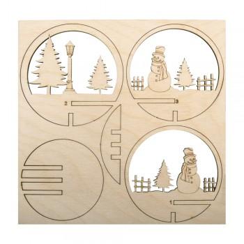 Sestava dřevěná - koule prořezávaná, Sněhulák, pr. 7,5cm