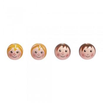 Dřevěné hlavičky, 23mm ø, 2 druhy, 4ks - holčičky, chlapečci