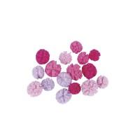 Jemné tylové pomponky, ø2,5cm + ø3cm, 16ks- růžové, starorůžové, lila