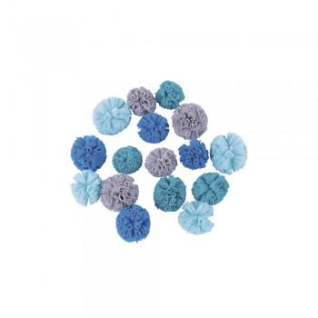 Jemné tylové pomponky, ø2,5cm + ø3cm, 16ks- tyrkysové, modré, šedé