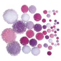 POmponky metalické, mix velikostí, 50ks - růžovo-bílé