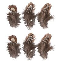 Dekorační peří - hnědé, 10-15cm, 6ks