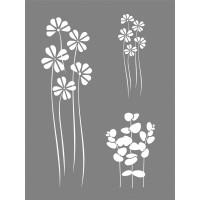 Šablona plastová - Mix květin, 15,25x20,32cm