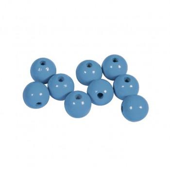 Dřevěné korálky lakované, pr.12mm, 32ks - sv. modré