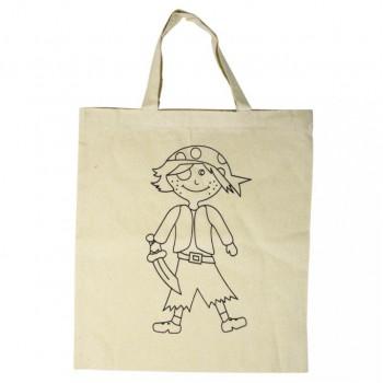 taška předkreslená, bavlna přírodní,38x42cm - pirát