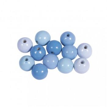 Dřevěné korálky, pr.12mm, 32ks - mix pastelově modrý