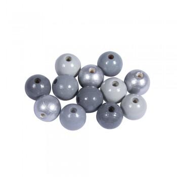 Dřevěné korálky, pr.12mm, 32ks - mix stříbrno-šedý