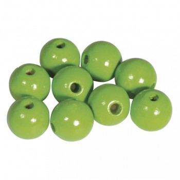Dřevěné korálky lakované, pr.12mm, 32ks - zelené jablko