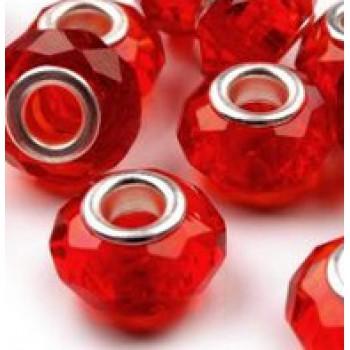 korálky broušené, plastové, velký průvlek, 4ks - červená