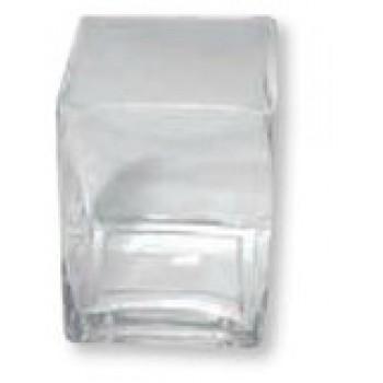 Svícen skleněný, 7,5 x7,5cm, v. 8cm
