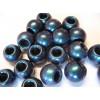 perle mačkané, skleněné, velký průvlek,4ks - metalíza modrá