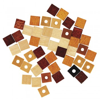 dřevěné korálky - kostičky 6mm, 45ks -hnědá směs