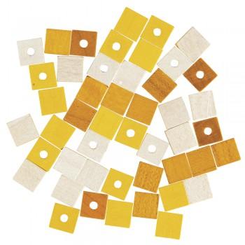 dřevěné korálky - kostičky 6mm, 45ks - žlutá směs