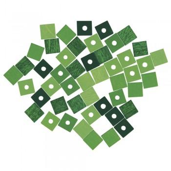 dřevěné korálky - kostičky 6mm, 45ks -zelená směs