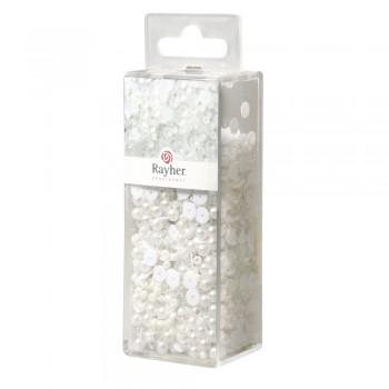 Korálkový mix 80g - bílý + drát 50mx0,3mm